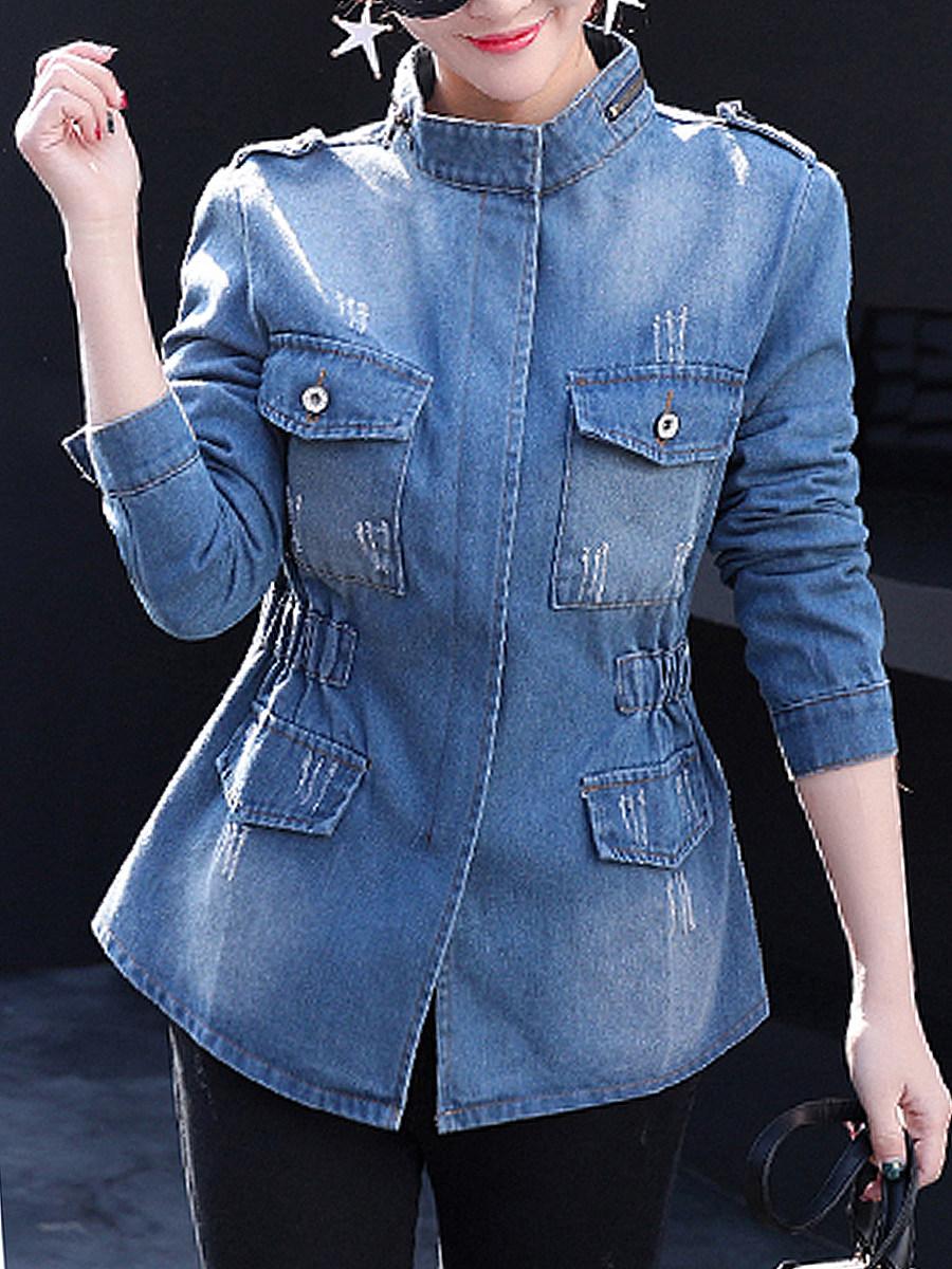 BerryLook Band Collar  Flap Pocket Zips  Plain  Long Sleeve Jackets