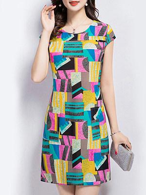 Round Neck Print Shift Dress, 6638117