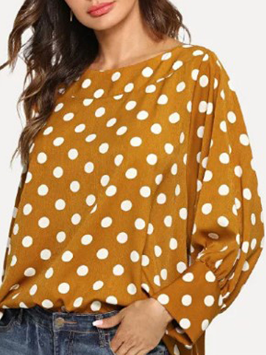 Autumn Spring  Cotton  Women  Round Neck  Polka Dot  Long Sleeve Blouses