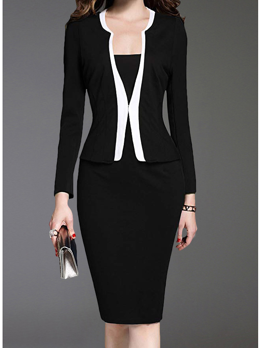 BerryLook V-Neck  Color Block Bodycon Dress