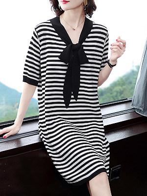 V Neck Plain Striped Shift Dress фото