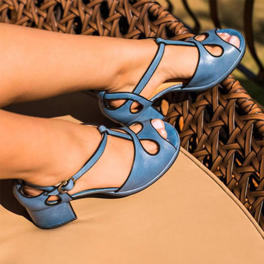 Travel Sandals Date Chunky Peep Plain Mid Heeled Toe dCtQhsrx