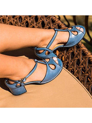 Plain Chunky Mid Heeled Peep Toe Date Travel Sandals, 7325124