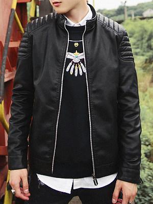 High Neck Pocket Plain PU Leather Men Jacket