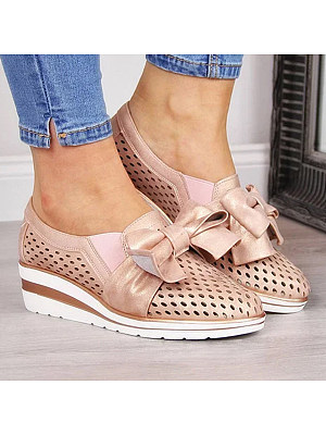 Hollow Out Plain Point Toe Casual Date Closed-Toe Wedges