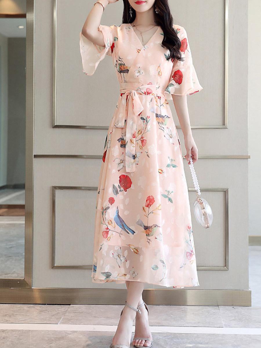 V-Neck Floral Printed Bell Sleeve Maxi Dress