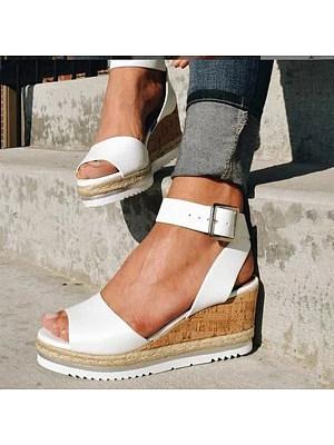 Plain Peep Toe Casual Date Wedge Sandals, 6823245