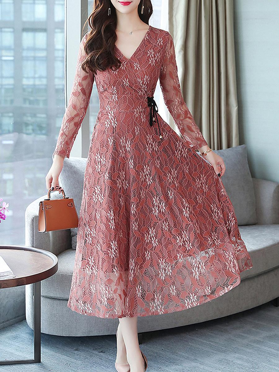 V Neck Lace Maxi Dress