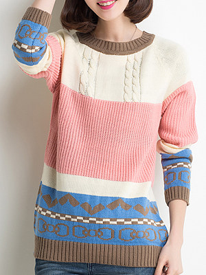 Round Neck Patchwork Cute Color Block Long Sleeve Knit Pullover, 8407333