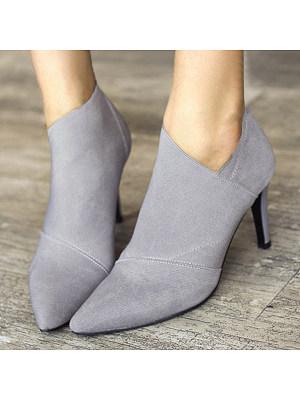 Plain  Stiletto  High Heeled  Point Toe  Date  Short High Heels Boots