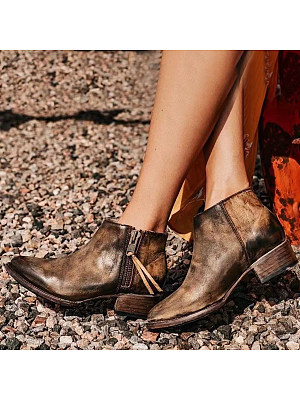 Distressed Plain Round Toe Boots, 9474063
