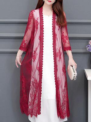 Patchwork Elegant Lace Three-Quarter Sleeve Cardigans, 8041467