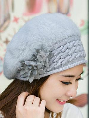 Lady Elegance Fashion Faux Fur Plain Floral Decoration Hats For Winter Women фото