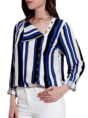 Irregular Collar Patchwork Casual Striped Long Sleeve Blouse, 8447844