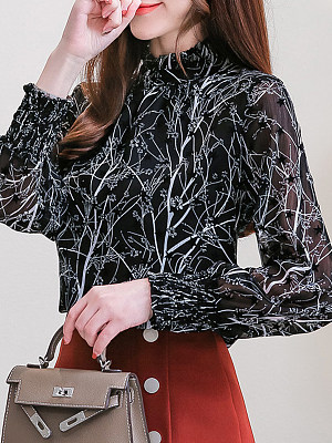 Heap Collar Patchwork Elegant Star Long Sleeve Blouse, 8915482