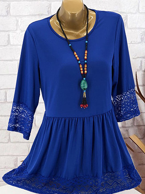 Round Neck Patchwork Lace Shift Dress
