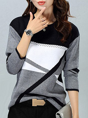 Round Neck Patchwork Color Block Knit Pullover, 6380706