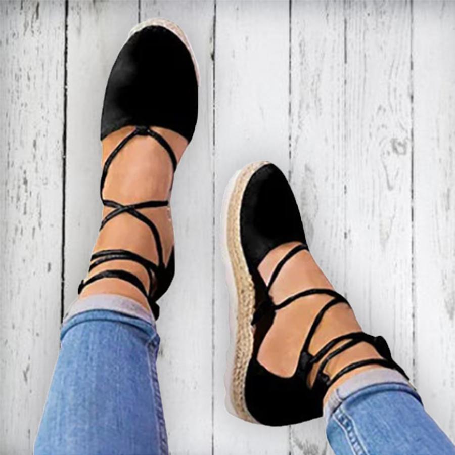 Plain Flat Velvet Ankle Strap Round Toe