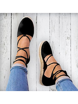 Plain Flat Velvet Ankle Strap Round Toe Casual Date Flat Sandals, 4679077