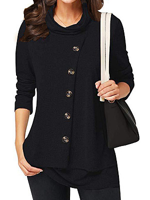 Heap Collar Patchwork Casual Decorative Button Plain Long Sleeve T-Shirt, 9112514