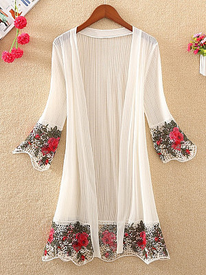 Embroidered Embroidery Elegant Cardigans, 7177346