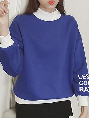 Round Neck Letters Long Sleeve Sweatshirts
