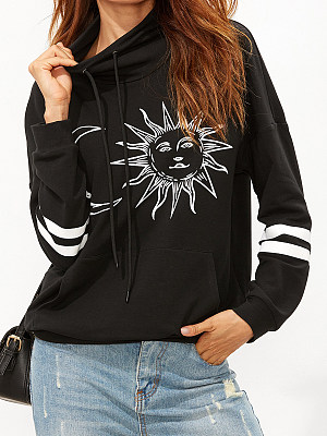 High Neck Printed Long Sleeve Sweatshirts, 6461364