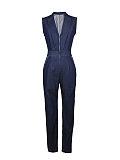 Image of Lapel Zips Jumpsuits