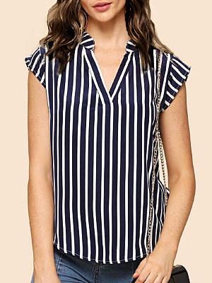 V Neck Stripes Blouses, 6519004