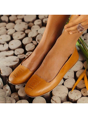 Vintage Plain Round Toe Date Comfort Flats, 6881851