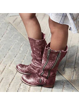 Distressed Round Toe Boots, 8826246