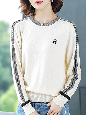 Round  Neck  Patchwork  Casual  Striped  Long Sleeve  Knit  Pullover