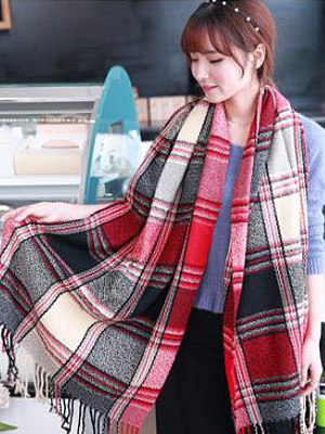 Lady Fashion Woolen Tassel Decoration Plald Scarves фото