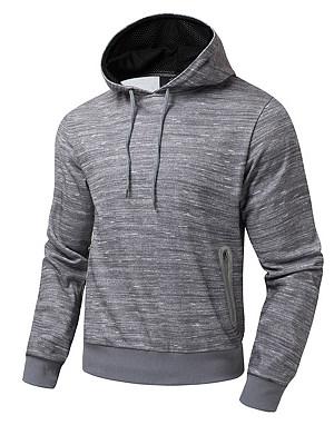 Men Drawstring Zips Pocket Hoodie