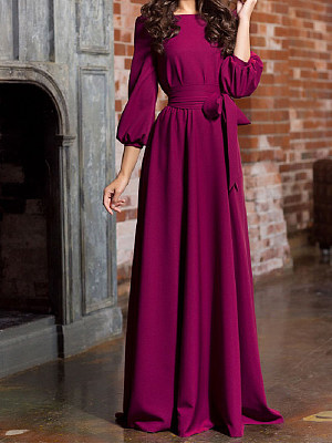 Round Neck Patch Pocket Plain Maxi Dress фото