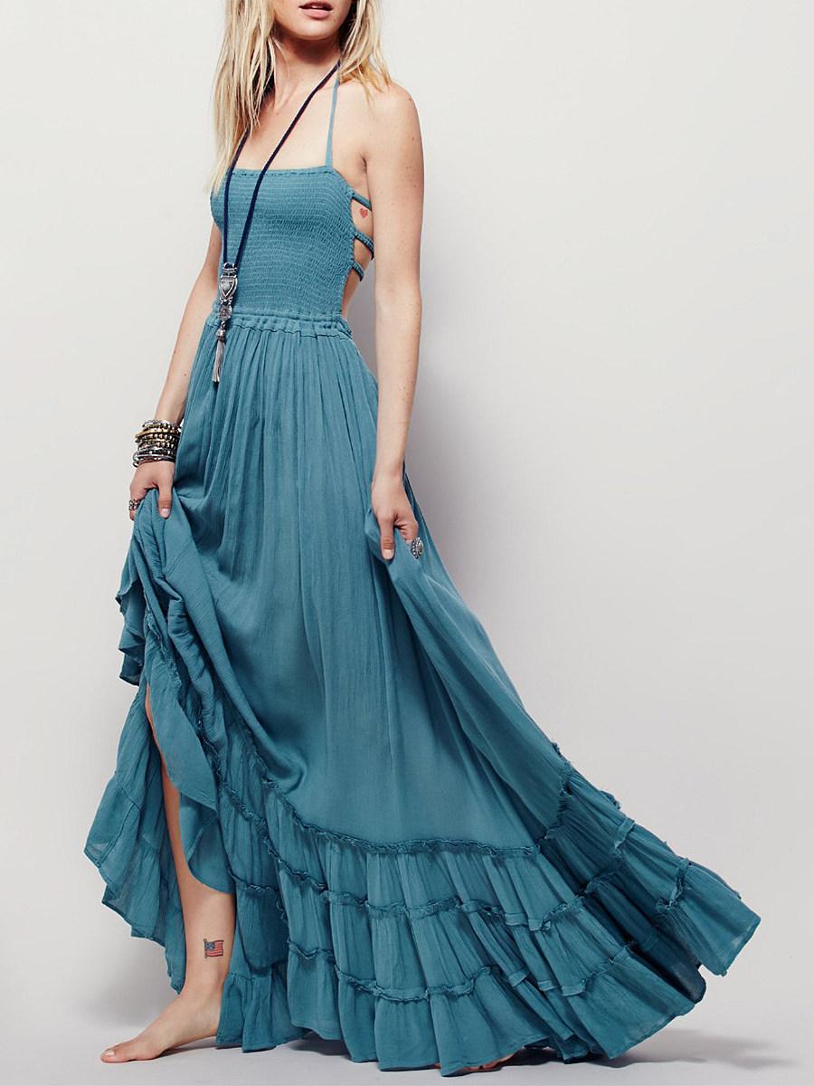 Boho Halter Backless Plain Maxi Dress
