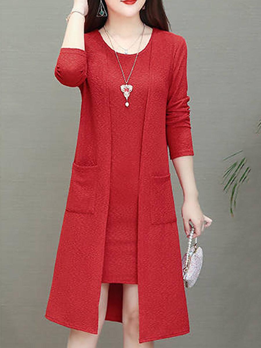 BerryLook Round Neck  Slit Pocket  Plain Shift Dress