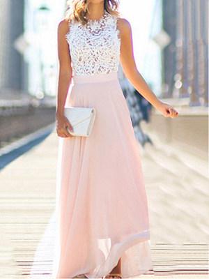 Crew Neck Patchwork Color Block Maxi Dresses, 4099927