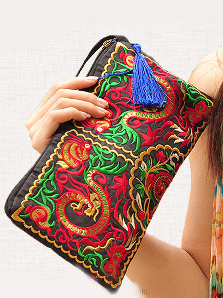 New National Style Embrioidery Abstract Print Zipper Special Hand Bag
