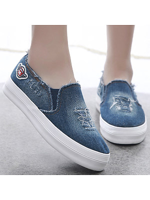 Light Wash Flat Denim Round Toe Casual Sneakers, 4857243