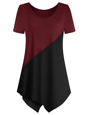 Round Neck Patchwork Color Block Short Sleeve T-Shirts, 7348712