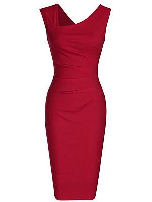 Asymmetric Neck Plain Blend Bodycon Dress (various colors and sizes)