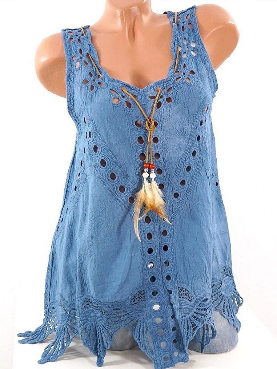 BerryLook Round Neck  Asymmetric Hem  Embroidery Blouses