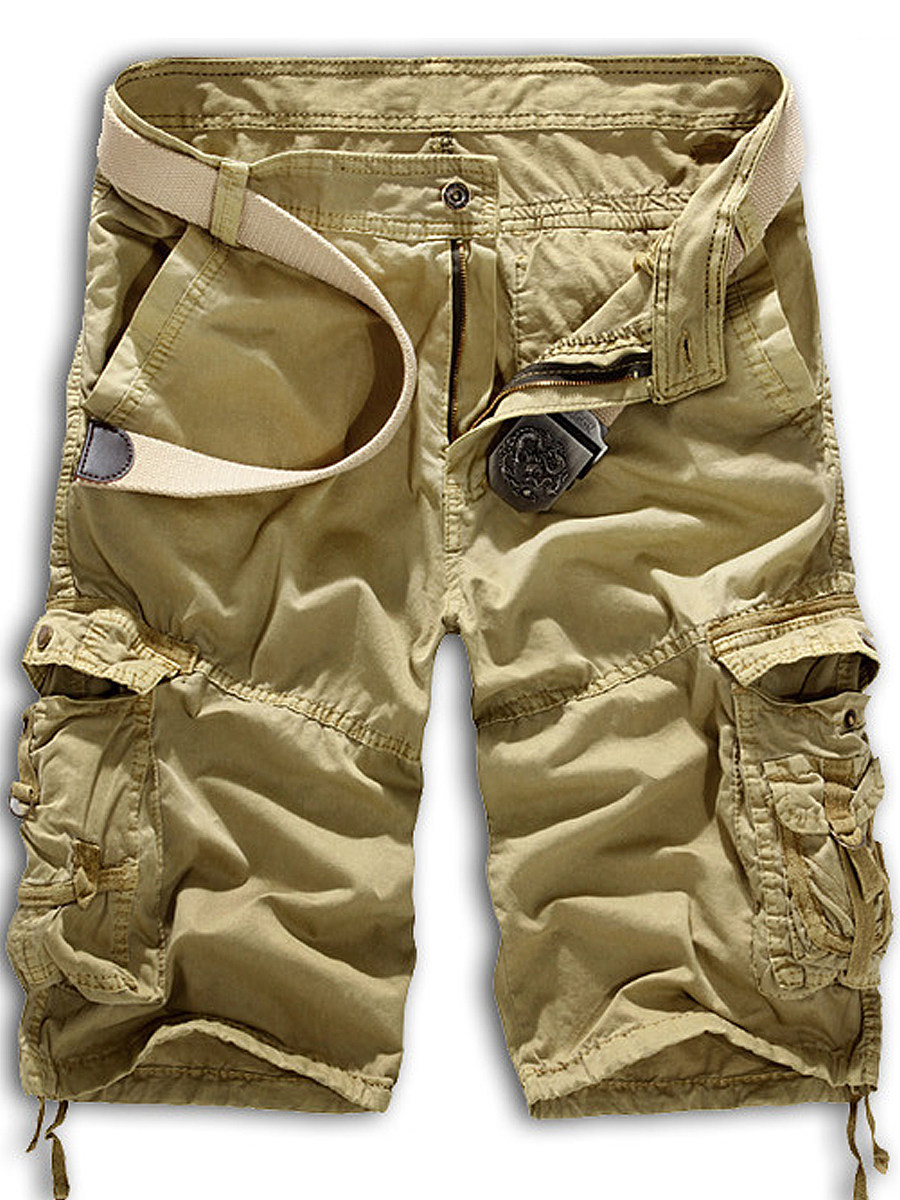 Flap Pocket  Camouflage  Straight  Mid-Rise Cargo  Shorts