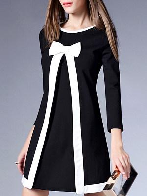 Round Neck  Bowknot Slit  Color Block Shift Dress
