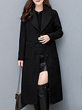 Image of Lapel Plain Patch Pocket Single Breasted Long Woolen Coat