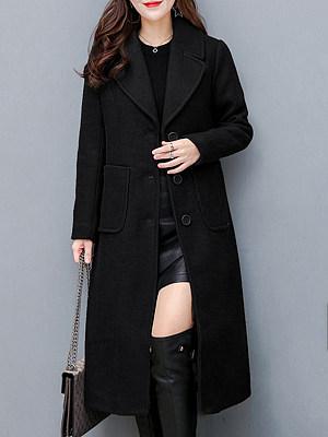 Lapel Plain Patch Pocket Single Breasted Long Woolen Coat