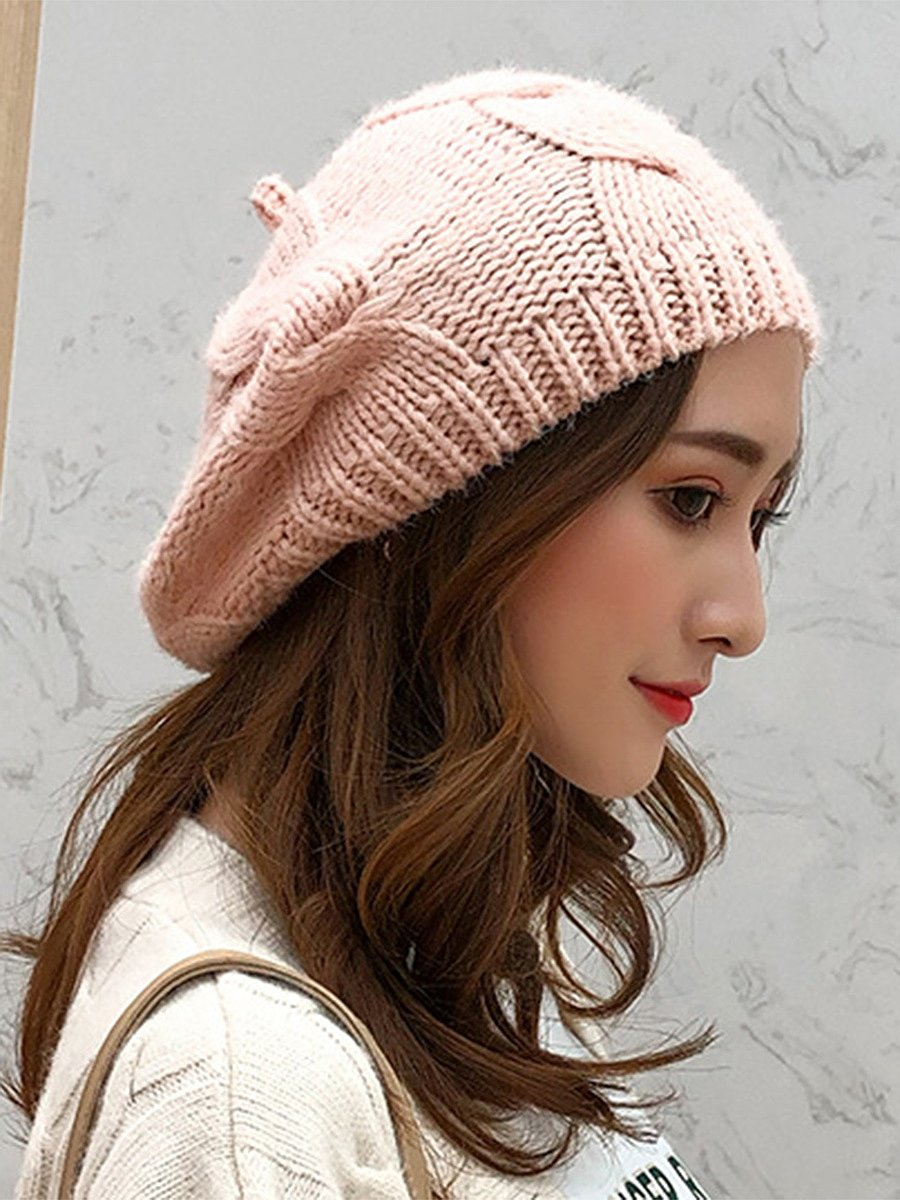 Fashion Beret Plain Chamois Hats For Lady