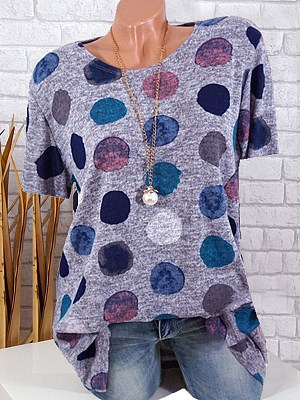 Round Neck Patchwork Polka Dot Short Sleeve T-Shirts, 7145057