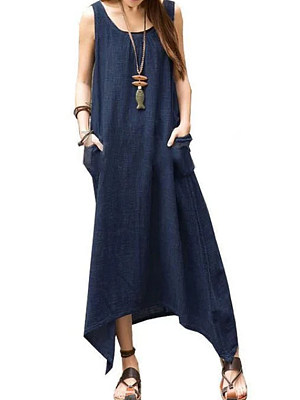 Round Neck Patch Pocket Plain Maxi Dress, 4508743